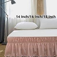 AYASW 床裙 床裙 防尘 褶边 三面布料 包裹 无上装(单人床/全长 45.72 厘米,绒球粉色)