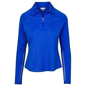Greg Norman 女式 Solar XP LS 拉链斑马高尔夫套头衫 上季 SAPHIRE 中