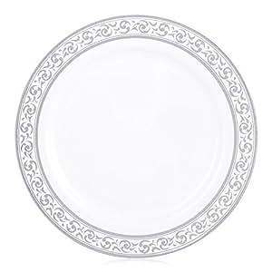 Elegant Setting 高级系列中国外观 10.25 英寸 白色/银色塑料餐盘,花式一次性餐具. 白色/银色 10.25