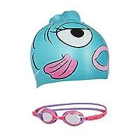 Speedo 速比涛 中性童 青少年海洋Q队泳帽泳镜套装 8-09303A621 水蓝色 均码