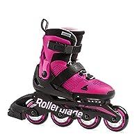 Rollerblade Microblade 女孩可调节健身内联滑冰,粉红色和泡泡糖,青少年高性能直排滑鞋