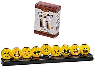 Quality Judaica Emoji 光明节烛台带彩色蜡烛