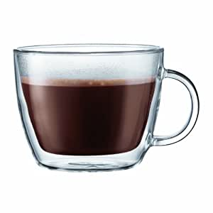 Bodum Bistro Double-Wall Insulated Glass Café Latte Mug, Set of 2 无色 15 oz.