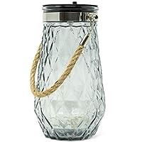 ReLIVE 8 英寸太陽能玻璃罐裝飾 LED 玻璃臺燈 炭黑色 68026G-C