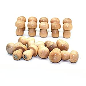 M-W 20 个装可爱木蘑菇形冰箱磁铁 日志颜色