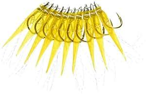 林钓渔具制作所 50支装 土佐斑鱼 中头黄色真皮圆形 金针 8号