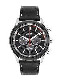 Citizen西铁城 男士太阳能驱动手表 黑色表盘模拟显示 黑色皮革表带CA4348-01E