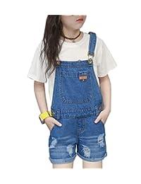 Sitmptol 女孩小孩子做旧男友大围兜破洞牛仔裤连体裤夏季短裤