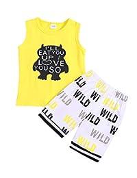 婴儿男孩女孩 T 恤服装 monster 卡通和 FUNNY 字母印花夏季棉质无袖服装套装上衣
