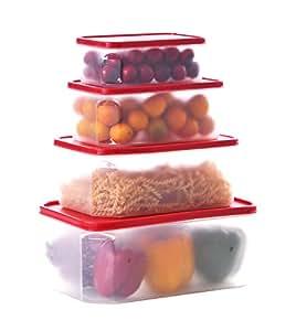 Uniware 可微波加热洗碗机*冷冻箱*矩形塑料食品容器套装,带 Crimson PE 盖,4 件套 Crimson, Clear Large (4.8 L/ 2.8 L/ 1.6 L/ 0.8 L) 7516
