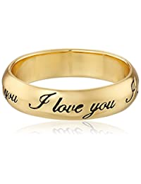 "Gold Plated Sterling Silver ""I Love You"" Ring, Size 8"