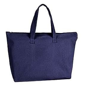 SHOPINUSA 出品(3 包仅需 22.90 美元)重型帆布大手提袋,顶部拉链和内袋,尺寸 50.8 厘米宽 x 38.1 厘米高 x 12.7 厘米深 *蓝