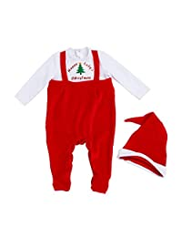 Elishow 新生儿中性款婴儿圣诞套装连衫裤连衣裤带红色帽子