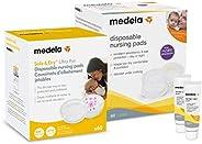 Medela 哺乳妈护理套装,4 件套,超薄一次性哺乳垫 60 克拉,*吸收垫 60 克拉,*吸水垫 60 克拉,(2) 护肤羊毛脂 0.3 盎司管装