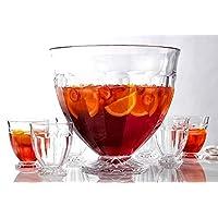 装饰性大号打孔碗,配有 6 个单独杯子 - 适用于冰淇淋、红雀、水果、水果、泥土和鸡尾*会、派对、活动、自助沙拉、水果、蔬菜,