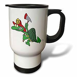 dooni Designs 随机卡通–FUNNY 消防员消防队员乌龟卡通–旅行杯 白色 14 oz