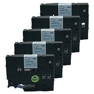 "QPMY 兼容兄弟 P-Touch 层压 Tze Tz 标签胶带 12 毫米 x 8 米 Length:8m (fluorescent tapes 5m) Width:12mm(0.47"") 5 Pack Tze-233 Blue on White"