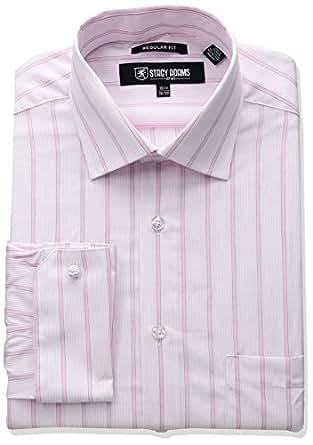 "STACY ADAMS 男士大加长条纹 Y.d. 礼服衬衫 粉红色 20"" Neck 36-37"" Sleeve"