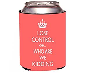 """Rikki Knight """"Keep Calm Oh Who are We Kidding Tropical Pink Color Design"""" Beer Can Soda Drinks Cooler Koozie"""