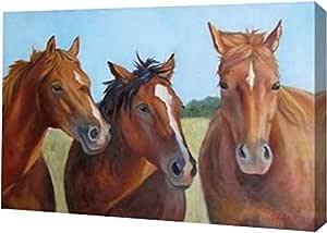 "PrintArt GW-POD-48-CW1072-30x20""Three Horses"" 由 Cheri Wollenberg 创作画廊装裱艺术微喷油画艺术印刷品,76.2 x 50.8 cm"