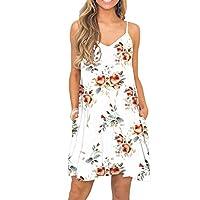 BEUFRI 女式夏季可调节细肩带休闲摇摆背心沙滩连衣裙,带口袋