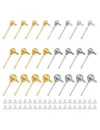 300 颗球形耳环耳钉带 300 颗橡胶耳环*背,圆形耳环球形耳环防*耳针,适用于 DIY 珠宝耳环制作