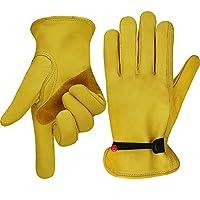 工作手套皮革园艺手套,带球和手腕闭合,花园手套,标志/木切割/森林工作/驾驶 - 男女皆宜 中 黄色 HY018