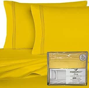 Homecrest 6 件套豪华亮色纯色床单套装! 超柔软,抗皱,深口袋,* 超细纤维(黄色,大号双人床/加州大号双人床)