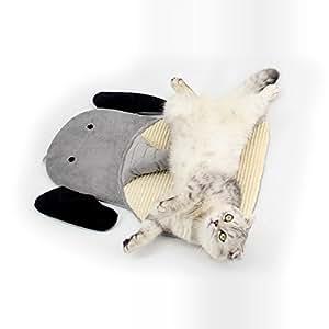 MYIDEA Sisal 长毛绒猫抓垫 - 天然 * 手工制作的猫咪或猫咪带铃铛宠物床垫 大象灰 大