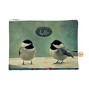 "Kess InHouse 21.59 cm x 15.24 cm Everything Bag 扁平袋""Hello Birds""绿/排版 (RD1167AEP0101)"