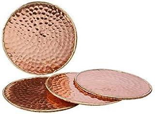 GoCraft 手工锤锻铜杯垫,带衬垫软木保护饮料、饮料和*/*杯(4 件套)