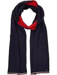 Tommy Hilfiger 男式双面针织围巾,蓝色*蓝红色 901,一件(制造商尺码:OS)
