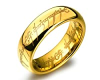 Lord of the rings 100% stainless steel 18K Gold Plated ring for boys and Men by YELLOW CHIMES ...