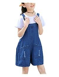Sitmptol 女孩大童做旧阔腿牛仔裤短裤牛仔围兜工作服和 T 恤套装