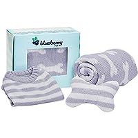 """Blueberry 宠物重型宠物床或床罩,可拆卸可清洗套带 YKK 拉链,购买带换尿布的整床 Gift Box - Stylish Grey Gift Box - 10"""" Sweater + Blanket + Pillow"""