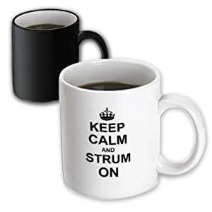 3dRose mug_157774_3 Keep Calm and Strum on Carry on Guitar Strumming Guitarist Musician Gifts Fun Funny Humor Magic Transforming Mug, 11-Ounce