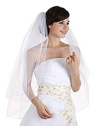 2T 2 层卷边铅笔边缘新娘婚礼头纱指尖长度 91.44cm