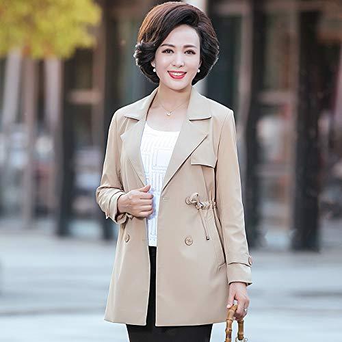 母秋のウインドブレーカージャケット女性の長いセクション40  -  50歳中年の女性の2018年新しい春と秋の薄いシャツキャラメルXL