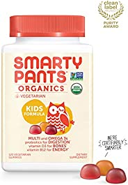 SmartyPants 素食儿童每日维生素软糖:多种维生素,不含麸质,Omega-3,益生菌,维生素D3,甲基钴胺素 B12,锌;120粒(30天供应量)
