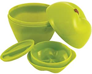 Hutzler Snack Attack Apple and Dip to-Go Lunch Box, Green