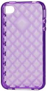 So'axess TPUAPIPH4-38 硬质硅胶保护套带紫色钻石设计,适用于 iPhone 4