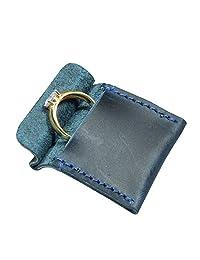 Hide & Drink,皮革婚戒套,纤细订婚袋,结婚,手工制作包括 101 年质保:石灰蓝