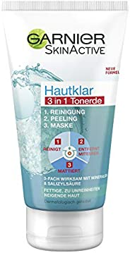 Garnier 卡尼尔 Hautklar 3合1清洁+去角质+面膜,3倍有效抵御不纯皮肤,含有水杨酸和氧化物,150毫升