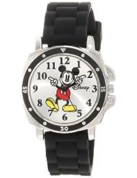 Disney 兒童 mk1080米老鼠手表,黑色橡膠表帶
