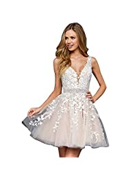 ABaowedding 女士新娘婚纱蕾丝贴花晚礼服 V 领肩带舞会礼服