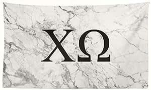 Pro-Graphx 希腊大学旗帜展示横幅标志装饰 - 91.44 cm x 1.65 cm 旗帜 白色大理石 Chi Omega 010709770432