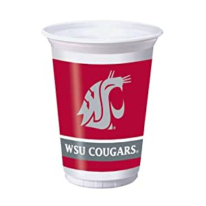 Creative Converting 8 Count Washington State Cougars Printed Plastic Cups, 20-Ounce