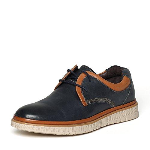 Senda 森达 森达冬季专柜同款打蜡牛皮时尚男鞋 CA101DM6 蓝色 44