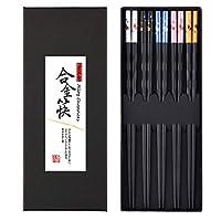 HuaLan 合金筷子系列 - 日本防滑奢华可重复使用筷子家族使用 5 对礼品套装 多彩鱼 HL-CS7-4
