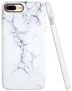 iPhone 7Plus 手机壳 a-focus 大理石石头纹 IMD 防刮 anti-finger 修身柔软弹性 TPU 材质手机壳适用于 iPhone 7Plus 14cm 白色
